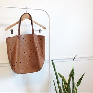Madewell | the hole punch tote cognac leather